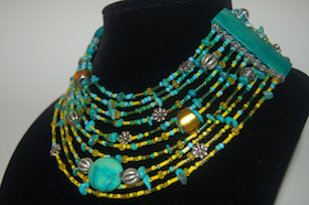 10 Strand Green & Yellow Necklace