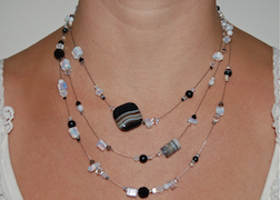 3-Strand Cloudy Black & White Agate Necklace