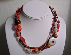 Coral & Black 3-Strand Necklace